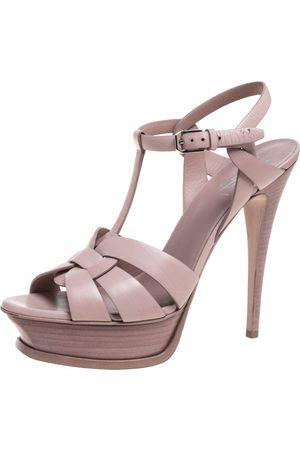 Saint Laurent Saint Laurent Blush Pink Leather Tribute Platform Ankle Strap Sandals Size 39.5