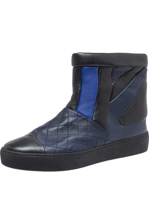 CHANEL Black/Blue Leather Snow Ankle Boots Size 40