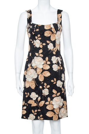 Dolce & Gabbana Vintage Black Floral Printed Jacquard Sheath Dress M