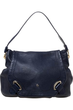 Aigner Blue Leather Flap Hobo