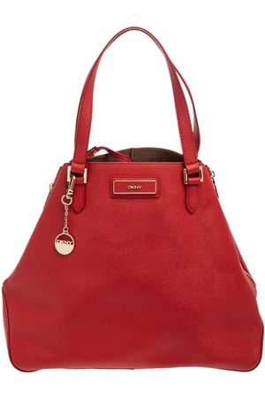 DKNY Red Leather Zip Side Shopper Tote