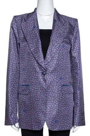 Roberto Cavalli Purple Floral Print Silk Tailored Jacket L