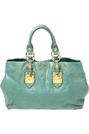Miu Miu Blue Vitello Shine Leather Tote