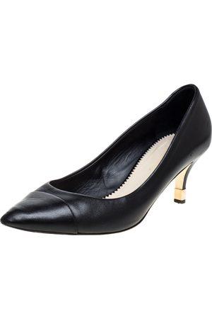 CHANEL Black Leather CC Metal Heel Pumps Size 38