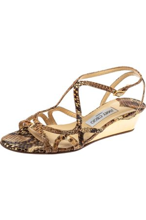 Jimmy Choo Brown Snakeskin Effect Leather Strappy Wedge Sandals Size 38