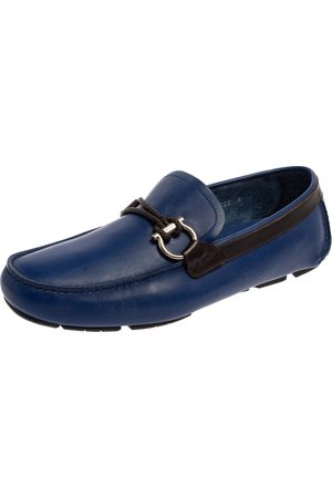 Salvatore Ferragamo Blue Leather Gancini Bit Slip On Loafers Size 42