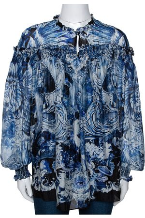 Roberto Cavalli Blue Printed Silk Ruffled Blouse S