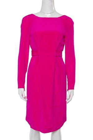 VERSACE Fuschia Pink Silk Belt Detail Long Sleeve Dress S