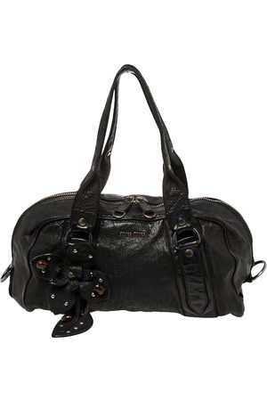 Miu Miu Black Leather Vintage Floral Embellished Satchel