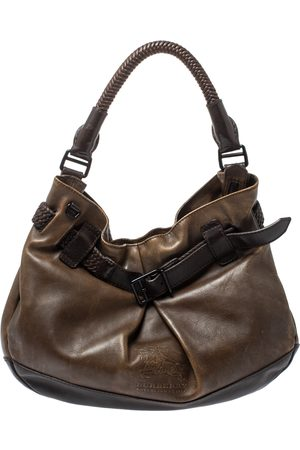 Burberry Dark Brown Logo Embossed Leather Buckle Detail Hobo