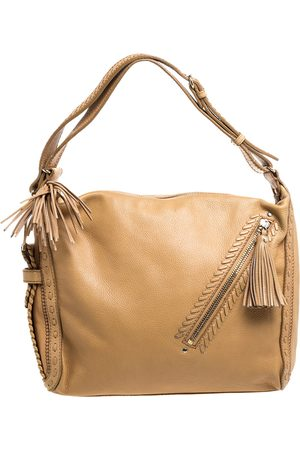 Jimmy Choo Beige Leather Lily Tassel Hobo