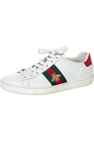 Gucci White Leather Embroidered Bee Ace Low-Top Sneakers Size 35.5
