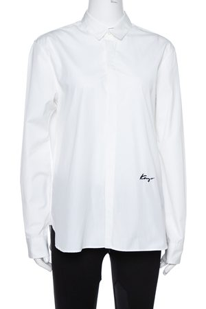 Kenzo White Cotton Signature Embroidered Shirt M