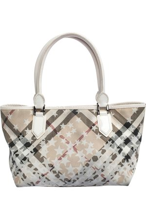 Burberry White Nova Check PVC and Patent Leather Nickie Stars Tote