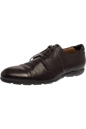 Armani Brown Leather Lace UP Oxfords Size 44
