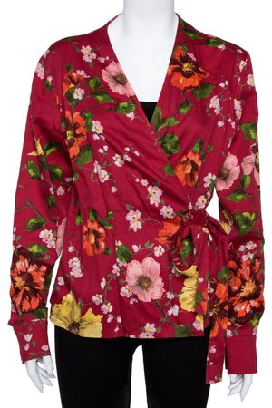Kenzo Red Floral Print Cotton Wrap Top XL