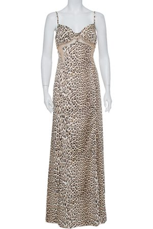 Roberto Cavalli Beige Animal Printed Satin Mesh Detail Maxi Dress L