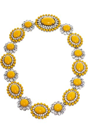 Miu Miu Yellow Crystal Embellished Floral Choker Necklace