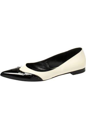 Saint Laurent Saint Laurent White/Black Brogue Patent Leather Paris Pointed Toe Flats Size 40.5