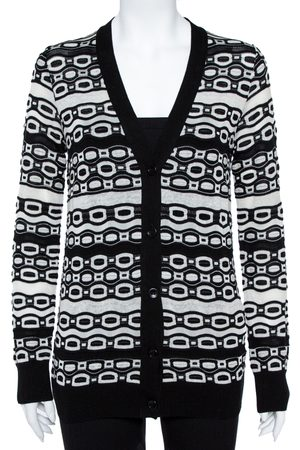 M Missoni Monochrome Oblong Knit Button Front Cardigan M