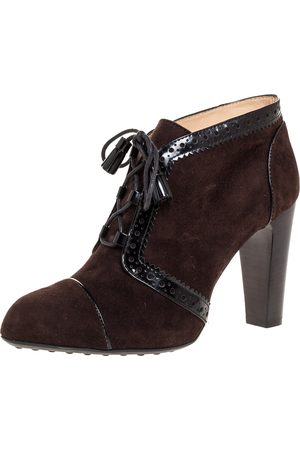Tod's Brown Suede Leather Lace Up Ankle Booties Size 37