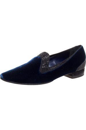 RENÉ CAOVILLA Navy Blue Velvet Crystal Embellished Smoking Slippers Size 35