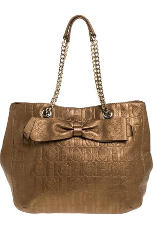 Carolina Herrera Gold Monogram Leather Audrey Tote