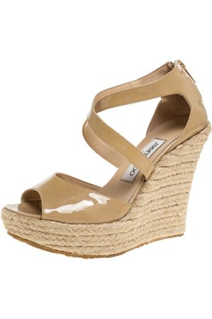 Jimmy Choo Beige Patent Leather Espadrille Wedge Platform Sandals Size 38