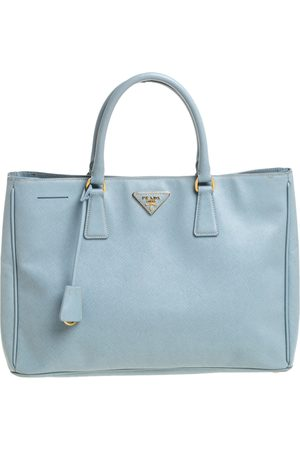 Prada Light Blue Saffiano Leather Open Galleria Tote