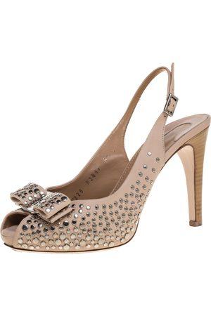 Salvatore Ferragamo Studded Beige Leather Louvre Scilla Bow Slingback Platform Sandals Size 37