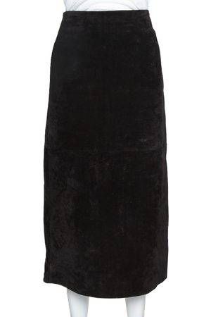 Saint Laurent Black Suede Fitted Midi Skirt S