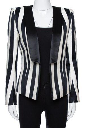 Balmain Monochrome Striped Open Front Blazer M