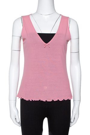 Gucci Pink Cotton Knit Bow Detail Sleeveless Top M