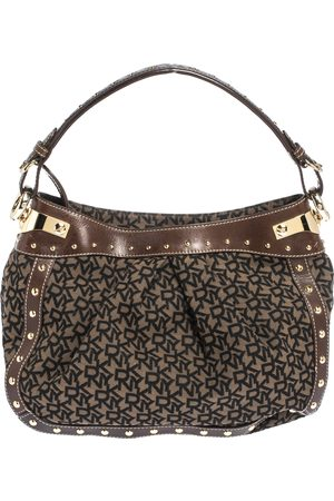 DKNY Brown/Black Signature Canvas and Leather Studded Hobo