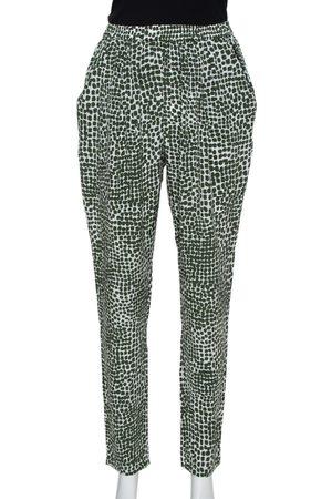 Stella McCartney Green & White Printed Silk Elastic Waist Trousers S
