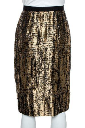 Oscar de la Renta Metallic Black/White Jacquard Knee Length Skirt M