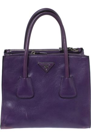 Prada Purple Leather Twin Pocket Double Handle Tote