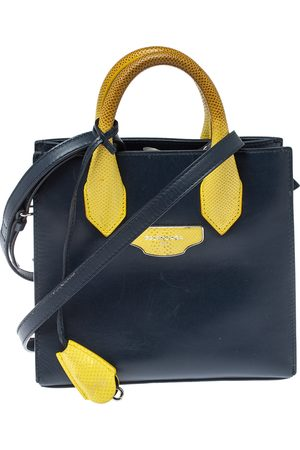 Balenciaga Navy Blue/Yellow Leather and Lizard Mini All Afternoon Tote