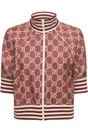 Gucci Logo Printed Silk Twill Zip Jacket