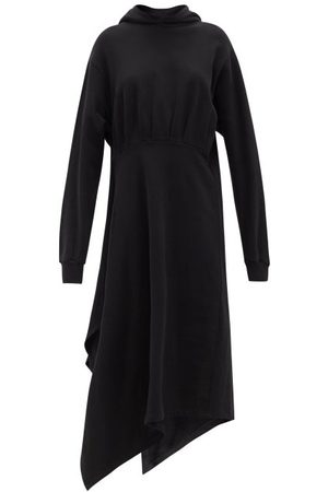 Balenciaga Asymmetrical-hem Cotton-jersey Hooded Dress - Womens