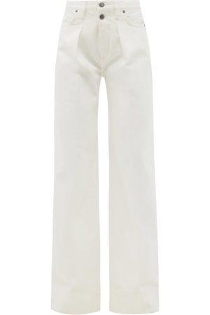 Frame Mosaic High-rise Pleated Wide-leg Jeans - Womens