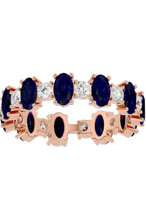 SuperJeweler Women Rings - 14K (2.90 g) 3 Carat Sapphire & Moissanite Eternity Ring
