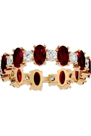 SuperJeweler Women Rings - 14K (3.10 g) 3 Carat Ruby & Moissanite Eternity Ring