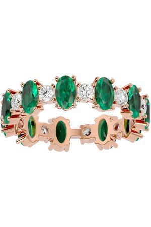 SuperJeweler Women Rings - 14K (3.20 g) 3 1/2 Carat Emerald & Moissanite Eternity Ring