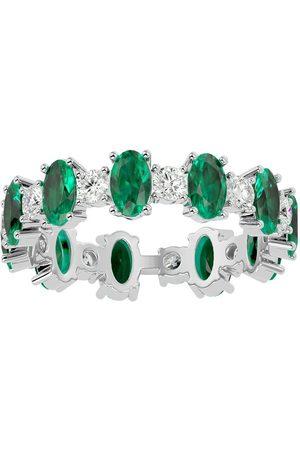 SuperJeweler Women Rings - 14K (4 g) 3 3/4 Carat Emerald & Moissanite Eternity Ring
