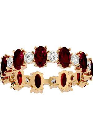 SuperJeweler Women Rings - 14K (3.65 g) 3 1/2 Carat Ruby & Moissanite Eternity Ring