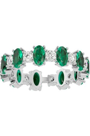 SuperJeweler Women Rings - 14K (3.65 g) 3 1/2 Carat Emerald Cut & Diamond Eternity Ring (