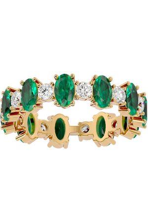 SuperJeweler Women Rings - 14K (3.65 g) 3 1/2 Carat Emerald & Moissanite Eternity Ring