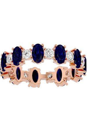 SuperJeweler Women Rings - 14K (3.20 g) 3 1/2 Carat Sapphire & Moissanite Eternity Ring