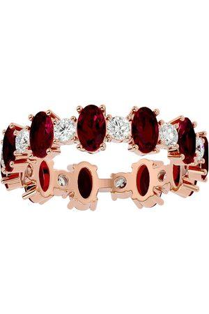 SuperJeweler 14K (4 g) 3 3/4 Carat Ruby & Moissanite Eternity Ring